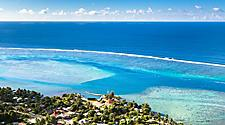 Aerial coastal view of Moorea Island, French Polynesia