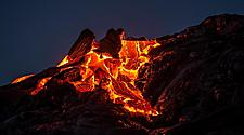Lava sunrise on the southeast rift zone of Kilauea volcano in Mount Kilauea, Hawaii