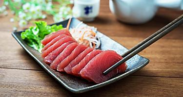 Raw fish tuna sashimi in traditional Japanese style