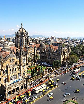 Chhatrapati Shivaji Terminus railway station in Mumbai, India, seen from above