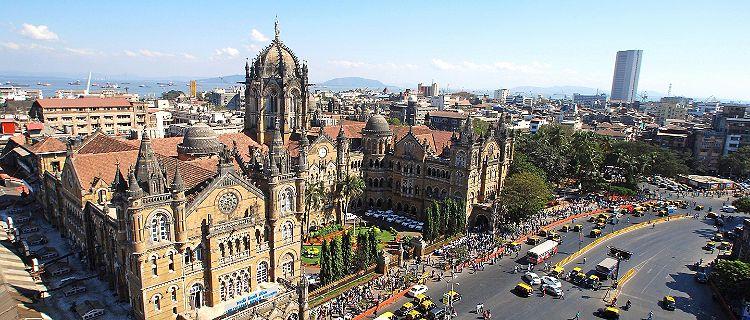 Chhatrapati Shivaji Terminus railway station in Mumbai, India, seen from above
