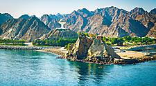 Views of the mountain landscape and ocean in Muscat, Oman
