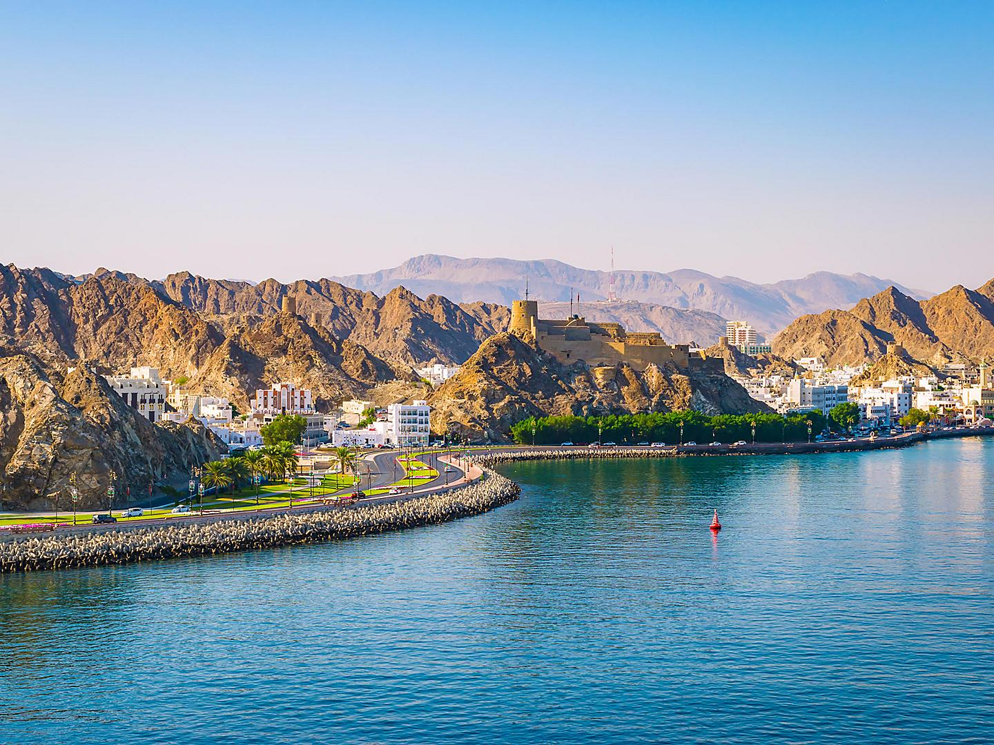 Muscat, Oman Waterfront Coast Mountains