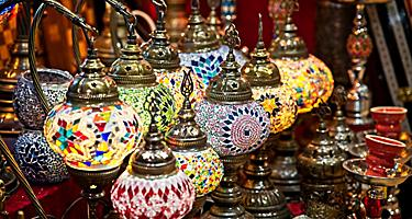 Beautiful and colorful decorative lamp shade lanterns being sold at the Muttrah Square in Muscat, Oman