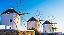 Famous windmills during sunset in Mykonos, Greece