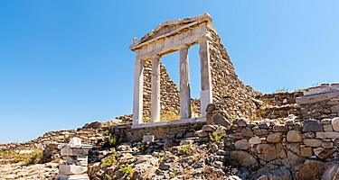 The Temple of Isis in archaeological site of Delos island, Mykonos, Greece