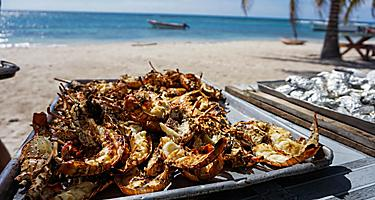 Grilled lobster on the beach