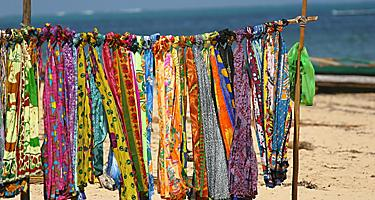 Sarongs for sale on the beach