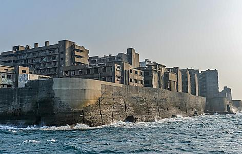 Hashima Island on the corner view from the sea in Nagasaki, Japan