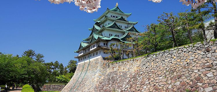 View of the castle with cherry blossoms and a wall along the outside of the castle in Nagoya, Japan