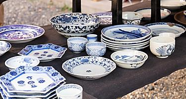 Porcelain crockery at Flea Market near Osu Kannon temple in Nagoya, Japan