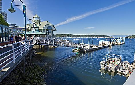 A harbor and waterfront walkway in Nanaimo, British Columbia