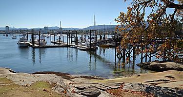 Boats docked at the Newcastle Marina in Nanaimo, British Columbia
