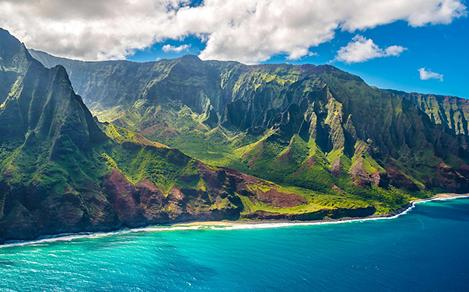 Aerial view of the mountainous Napali Coast, Hawaii, from an angle