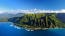Aerial view of the mountainous Napali Coast, Hawaii