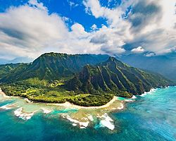 Panoramic view of the  Napali Coast, Hawaii