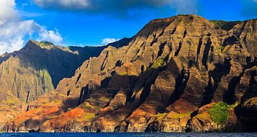 Dramatic rugged hills of the Napali Coast, Hawaii
