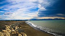 Napier beach in New Zealand with storm clouds