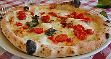 A margherita pizza in Naples, Italy