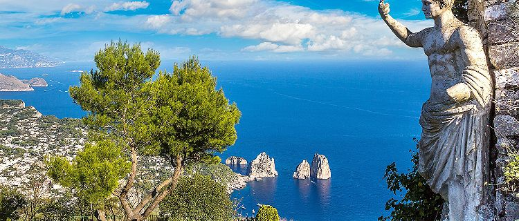 Coastal view of Capri in Italy
