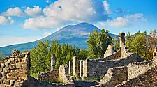 Mount Vesuvius towering over the ruins of Pompeii in Naples