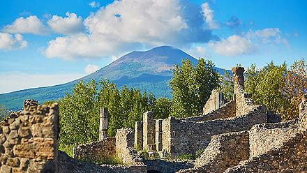 Mount Vesuvius towering over the ruins of Pompeii in Naples