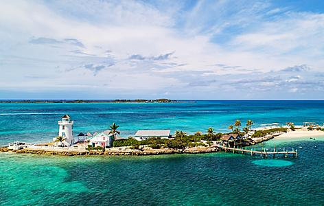 Aerial of the Pearl Island Lighthouse, Nassau, Bahamas
