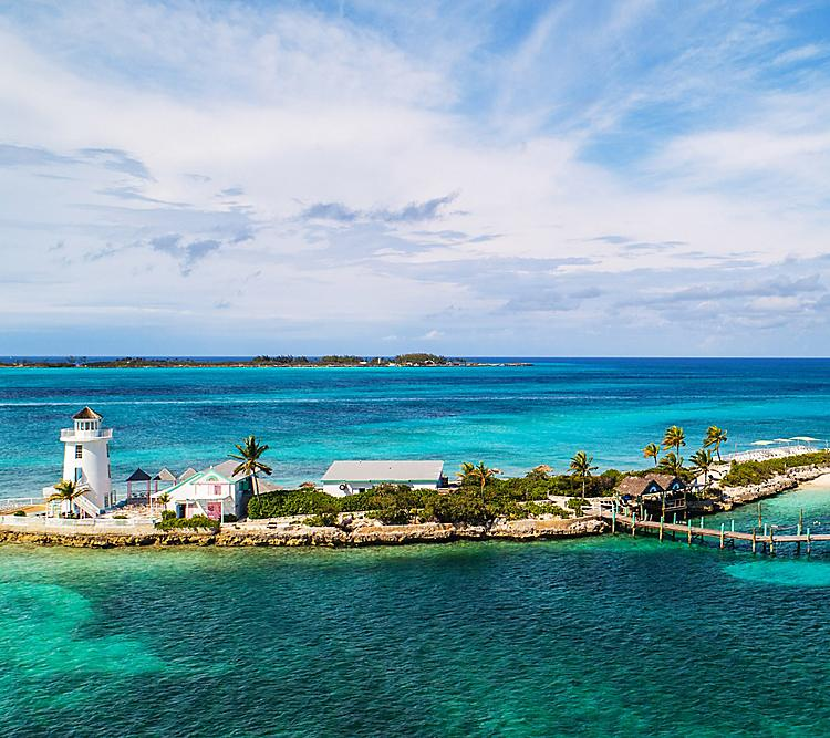 Aerial of the Bahamas Pearl Island Lighthouse