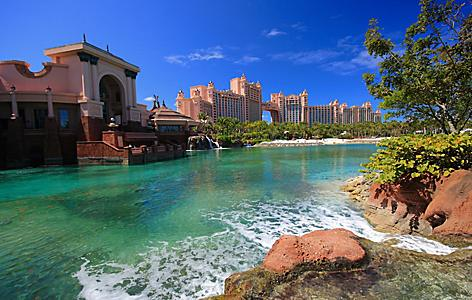 View of Lagoon Beach at Atlantis Paradise Island, Nassau, Bahamas