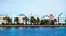 Colorful buildings in Paradise Island, Bahamas. All of them are about the same size, creating an interesting pattern or background.