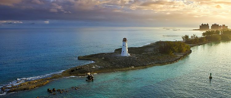Paradise Island Lighthouse During Sunset