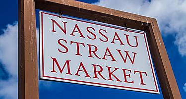 The sign at the Straw Market in Nassau, Bahamas