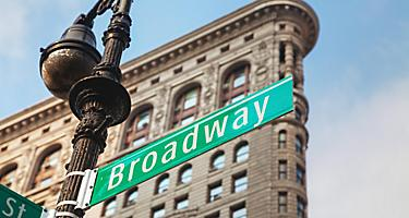 A street sign for Broadway in New York, New York