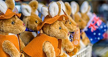 Stuffed toy Kangaroo souvenirs for sale at the markets in Australia
