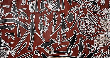 An ancient aboriginal Australian painting in the Newcastle Museum