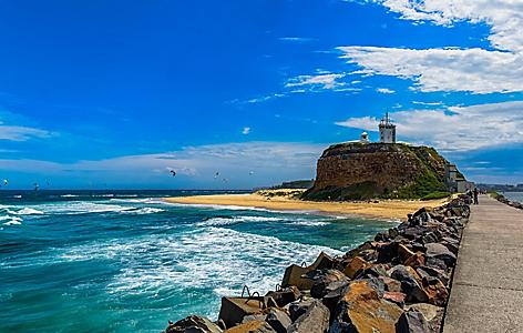 The Nobbys Head Lighthouse in Newcastle, Australia