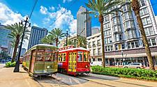 Green and red streetcar trolleys for transportation in New Orleans