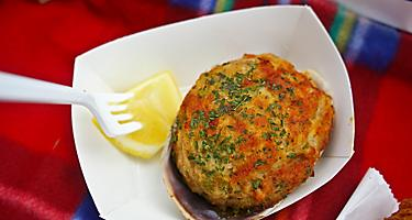 A stuffed quahog with a lemon