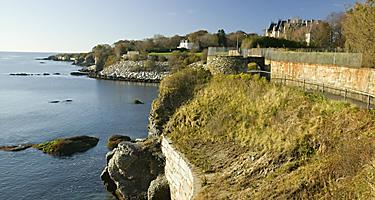 View of the walking paths on the cliffs at Newport, Rhode Island