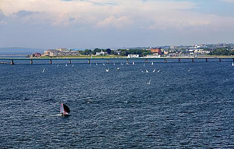 View of a bridge at the harbor in Newport, Rhode Island