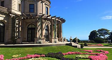 The gardens in the front of the Breakers Mansion in Newport, Rhode Island