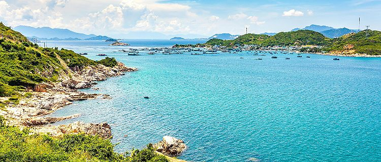 Beautiful sea view of the coast in Cam Ranh, Vietnam
