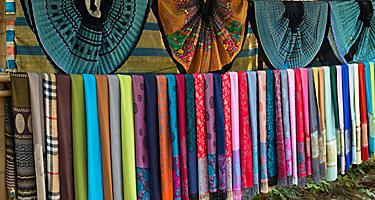 Ethnic silk wraps in different colors found in the villages of Vietnam