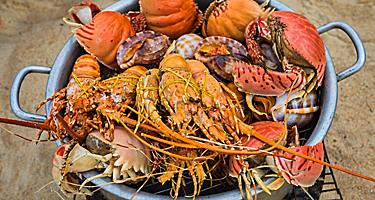 Seafood sold on the beach in Nha Trang, Vietnam