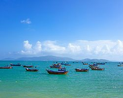 Fishing boats anchored at sea in Nha Trang, Vietnam