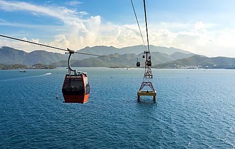 Aerial cable car over ocean in Nha Trang, Vietnam
