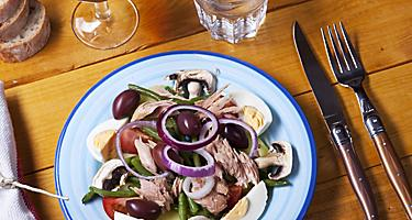 A Nicoise salad on a white and blue plate
