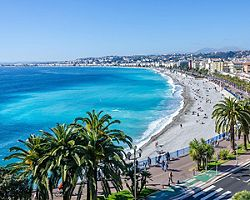 Aerial view of a beach in Nice, France