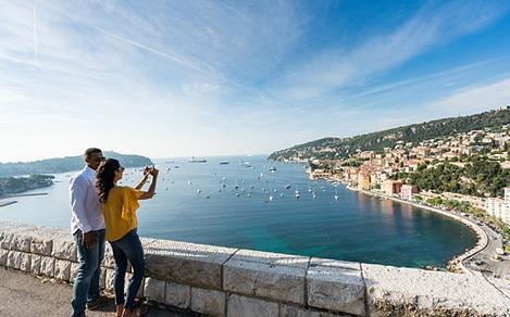 France Nice Villefranche Sur Mer Coast Couple Taking Pictures