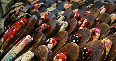 Close up of geta, traditional wood clogs, in Niigata, Japan